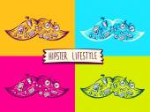 Illustration of set big mustache of hipster life style with different icons — Stock Vector