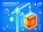 Bright illustration construct crane and books — Stock Vector