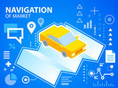 Bright illustration navigate map and car — Stock Vector