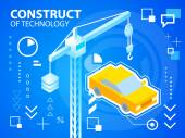 Bright illustration construct crane and car — Stock Vector