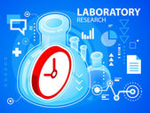 Bright illustration laboratory research and clock — Stock Vector