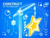 Bright illustration construct crane and star — Stock Vector