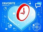 Bright illustration heart and clock — Stock Vector