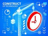 Bright illustration construct crane and clock — Stock Vector