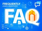 Bright illustration faq and gift box with bow — Stock Vector