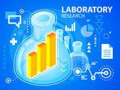 Bright illustration laboratory research and bar chart — Stock Vector