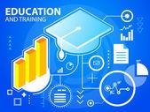 Bright illustration graduate cap and bar chart — Stock Vector