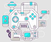 Industrial illustration of the mechanism of joystick — Stock Vector