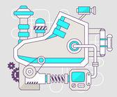 Ilustracja przemysłowe mechanizmu sneaker. — Stockvector