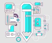 Industrial illustration of the mechanism of pencil — Stock Vector