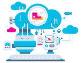 Cloud technologie pro tenisky. — Stock vektor