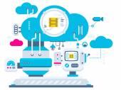 Les serveurs de technologie cloud. — Vecteur
