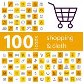 Set of 100 icons of shopping on line — Stock Vector