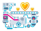 Factory for manufacture hearts — Stock Vector