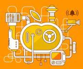 The mechanism of apple. — Stock Vector