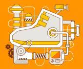 El mecanismo de la zapatilla de deporte. — Vector de stock
