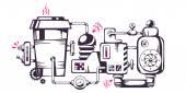 Mechanism of coffee to go. — Stock Vector
