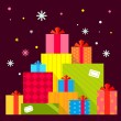 Vector Christmas illustration of the piles of presents on dark b — Stockvector  #55307031