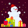 Vector illustration of the snowman and piles of presents on dark — Stockvector  #55307051
