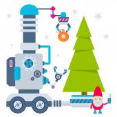 Vector illustration of the gnome operates the machine that carry — Wektor stockowy