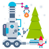 Vector illustration of the gnome operates the machine that carry — ストックベクタ
