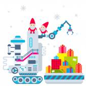 Vector Christmas illustration of the gnome operates the machine, — Stockvektor