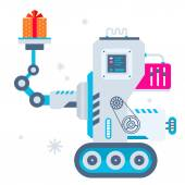 Vector illustration of the machine holds Christmas present. — ストックベクタ