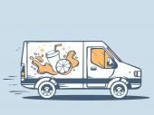 Delivering fruit juice — Stock Vector