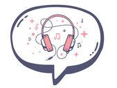 Speech bubble with pink headphones — Stock Vector