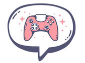 Speech bubble with pink joystick — Stock Vector