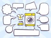 Washing machine with speech bubbles — Vetor de Stock