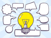 Light bulb with speech bubbles — Stock Vector