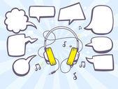 Headphones with bubbles — Stock Vector