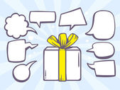 Gift box with speech bubbles — Stock Vector