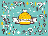 Burger with crown on green pattern background — Stock Vector
