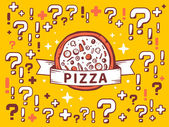 Pizza on yellow pattern background — Stock Vector
