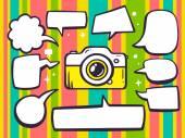 Photo camera with speech  bubbles — Stock Vector
