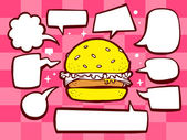 Big burger with speech  bubbles — Stock Vector