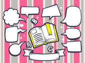 Open book with speech  bubbles — Stock Vector