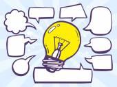 Bulb light with speech  bubbles — Stock Vector
