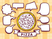 Pizza with speech  bubbles — Stock Vector