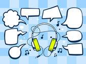 Headphones with speech bubbles — Stock Vector