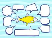 Fish with speech  bubbles — Stock Vector