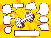 Dumbbell with speech bubbles — Stock Vector