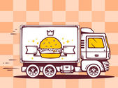 Truck and fast delivering burger — Stock Vector