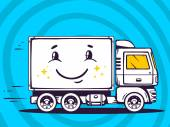 Smile truckand fast delivering — Stock Vector
