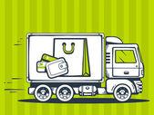 Fast delivering bag and money — Vecteur