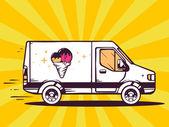 Fast delivering ice cream — Stock Vector