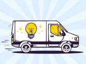 Fast delivering light bulb — Stock Vector