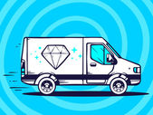 Van  and fast delivering diamond — Stock Vector